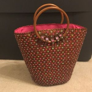 Victoria Secret Sequin Straw Beach Tote Bag